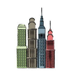 Buildings skyscrapers high business skyline vector