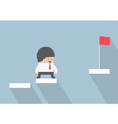 Businessman facing with the missing step to succes vector