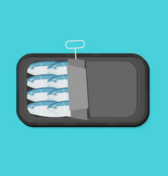 Canned sardines in flat style vector