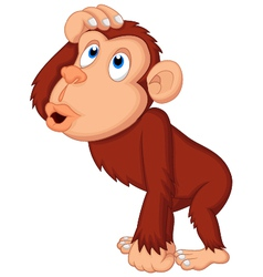 Chimpanzee cartoon thinking vector image vector image