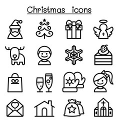 christmas icon set in thin line style vector image vector image