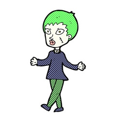 Comic cartoon halloween zombie woman vector