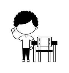 Cute african boy with school chair character icon vector