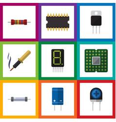 Flat icon electronics set of resistor display vector