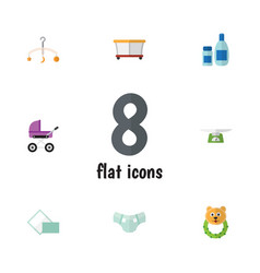 flat kid set of rattle mobile nappy and other vector image