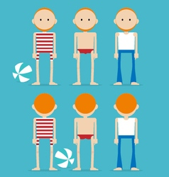 Ginger man in swimming suit vector image