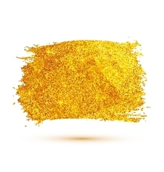 Golden glitter brush stroke isolated on white vector image