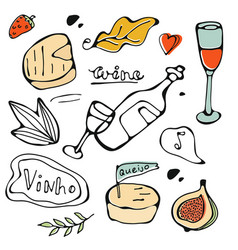 hand drawn food set vector image vector image