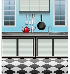 Kitchen room with sink at counter vector