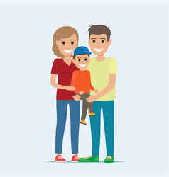 married couple in casual cloth and son on hands vector image vector image