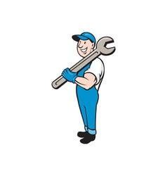 Mechanic Smiling Spanner Standing Cartoon vector image vector image
