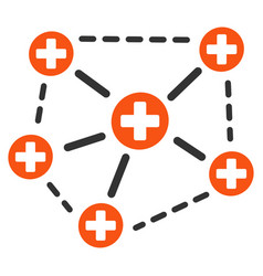 Medical network structure flat icon vector