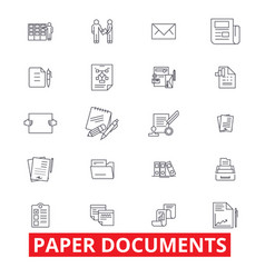 Paper documents archive paperwork forms bills vector