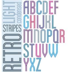 Poster retro light striped font bright condensed vector image