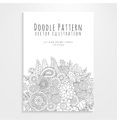 Poster with floral doodle pattern vector
