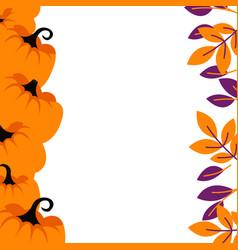 Purple pumpkins on orange border background card vector