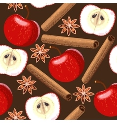 Seamless apple and cinnamon vector image vector image