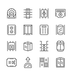 Set line icons of elevator vector