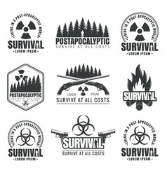 set of icons on the theme of survival vector image