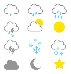 simple graphic of weather icons vector image