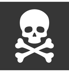 Skull with Crossbones Icon on Black Background vector image