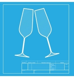 Sparkling champagne glasses White section of icon vector image