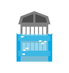 tsunami building flood house many of water vector image