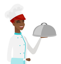 Young african chef holding towel and cloche vector