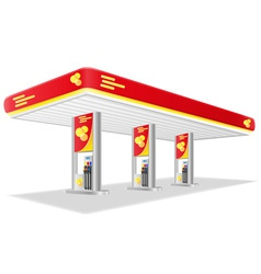 Car petrol station isolated on vector