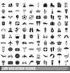 100 vacation icons set in simple style vector