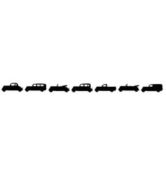 Black silhouettes of vintage cars vector