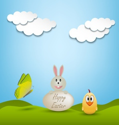 Easter greeting card with animals vector