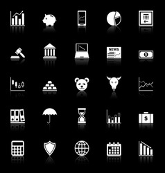 Stock market icons with reflect on black vector