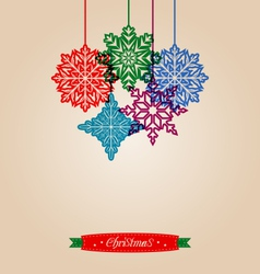 Christmas vintage card with snowflakes vector