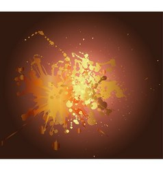 Yellow gold ink splat design with a brown backgrou vector