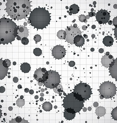 Black ink splats on a copybook page seamless vector