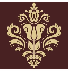 Damask pattern golden ornament vector
