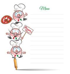menu with funny chef cartoon vector image