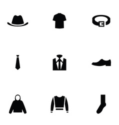 Man wear 9 icons set vector
