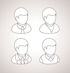 Line User Icons avatars vector image