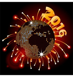 Disco ball world map 2016 and fireworks vector