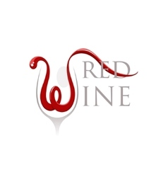 Words red wine with letter w in a shape of the vector