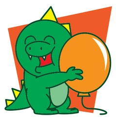 Dinosaur and balloon vector