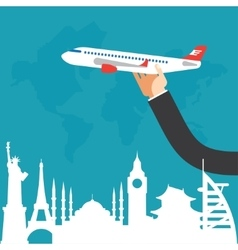 Travel by airplane vacation adventure vector