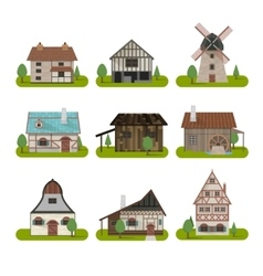 Medieval Ancient Buildings Set vector image