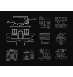 Home technology detailed icons white line vector
