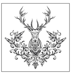 Logo graphic deer with floral ornaments vector