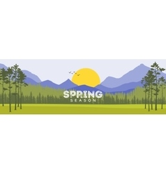 Spring background forest with shining sun travel vector