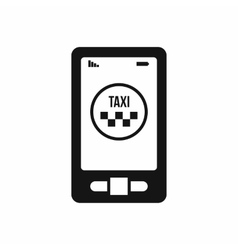 Taxi app in phone icon simple style vector