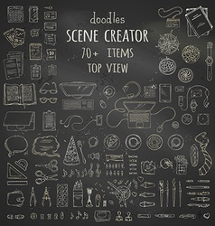 Set of chalk work place gadgets and stationery vector